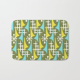 Mid Century Modern Atomic Wing Composition 55 Olive Yellow and Turquoise Bath Mat