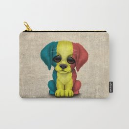 Cute Puppy Dog with flag of Romania Carry-All Pouch