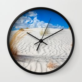 Playground - Vibrant Plant Life and Sandy Textures at White Sands New Mexico Wall Clock