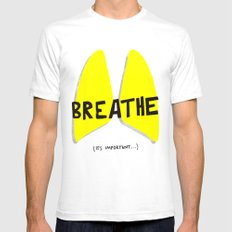 Breathe. A PSA for stressed creatives. White SMALL Mens Fitted Tee