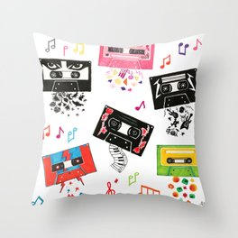 What's your vibe today - retro tapes vintage cassette music pattern Throw Pillow