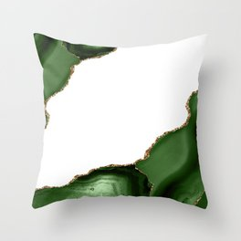 Beautiful Emerald And Gold Marble Design Throw Pillow