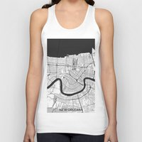 new orleans Tank Tops featuring New Orleans Map Gray by City Art Posters