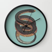 snake Wall Clocks featuring Snake by Magic Window