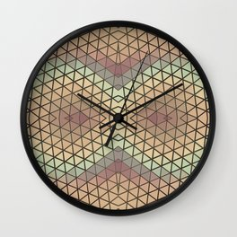 Abstract Triangles Owl Pattern Brown Wall Clock