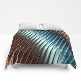 Stripey Pins Teal & Taupe - Fractal Art Comforters