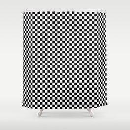Black White Checks Minimalist Shower Curtain