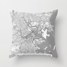 Amsterdam Map Line Throw Pillow