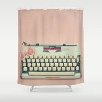 letter Shower Curtains featuring Love Letter by Cassia Beck