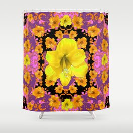 TROPICAL YELLOW & GOLD AMARYLLIS FLOWERS PATTERN ON Shower Curtain