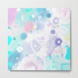 Peinture digitale tons pastels fleurs nuages bulles rose vert bleu jaune blanc Metal Print