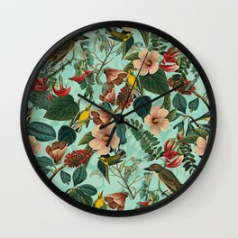 FLORAL AND BIRDS XIII Wall Clock