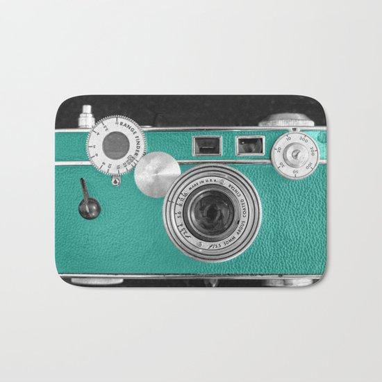 Teal retro vintage phone Bath Mat