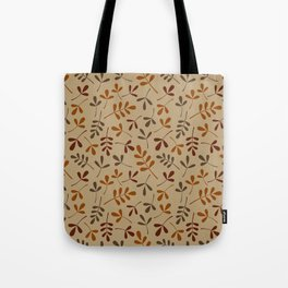 Fall Color Assorted Leaf Silhouette Pattern Tote Bag