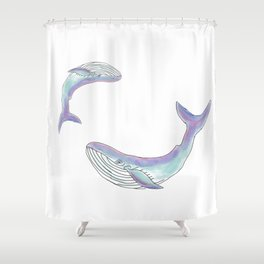Magical mom and baby whale Shower Curtain
