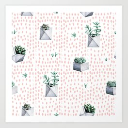 Cactus Pattern 01 Art Print