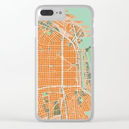 Buenos Aires city map orange Clear iPhone Case