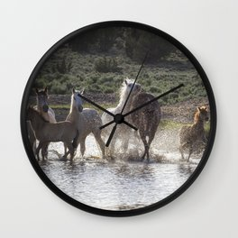 Splashing About At The Waterhole Wall Clock