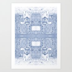 Blue Inhabited Plain Art Print