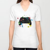 xbox V-neck T-shirts featuring Controller Graffiti XBox One by AngoldArts