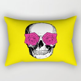 Skull and Roses | Skull and Flowers | Vintage Skull | Yellow and Pink | Rectangular Pillow