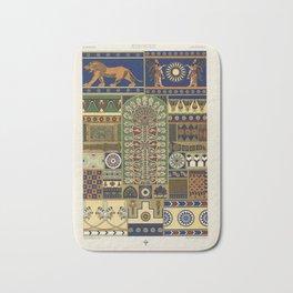 Assyrian pattern from Lornement Polychrome (1888) by Albert Racinet (1825-1893) Bath Mat