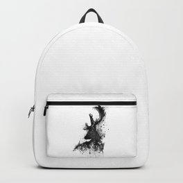 Deer Head Watercolor Silhouette - Black and White Backpack