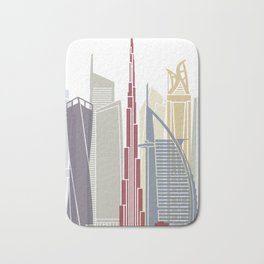 Dubai V2 skyline poster Bath Mat