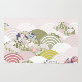 scales simple Nature background with japanese sakura flower, rosy pink Cherry, wave circle pattern Rug