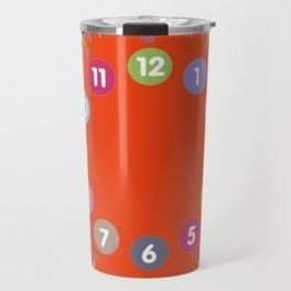 Colorful clock orange Travel Mug