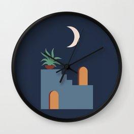 Minimal Minimalist Ancient Roman Ruins At Night Navy Blue Moon Rising Potted Plant Bohemian Boho Style Wall Clock
