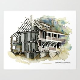 ETERNAL SUNSHINE OF THE SPOTLESS MIND's beach house watercolor Art Print