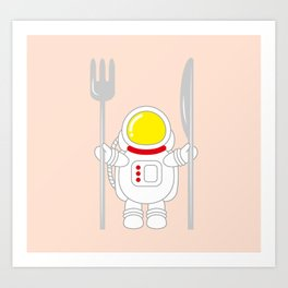 Space Odyssey | Astronaut Eats | Space Utensils | Galaxy Fork and Knife | pulps of wood Art Print