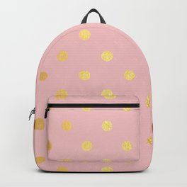 Gold polka dots on rose gold background - Luxury pink pattern Backpack