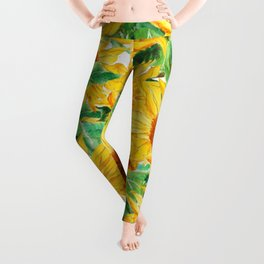 sunflower pattern Leggings