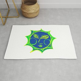 Smiling Green Sun with Blue Face Rug