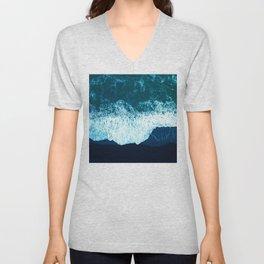 Turquoise Teal Tropical Ocean Waves On Black Sand Beach Unisex V-Neck