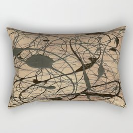 Pollock Inspired Abstract Black On Beige Rectangular Pillow