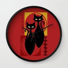 Devilishly Delightful Atomic Age Black Kitschy Cats Wall Clock