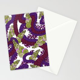 Wandering Abstract Line Art 13: Burgundy Stationery Cards