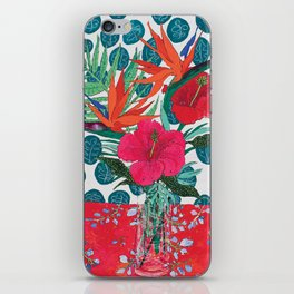 Tropical Bouquet in Living Coral and Emerald Green iPhone Skin