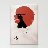 samurai Stationery Cards featuring Samurai by Purple Cactus