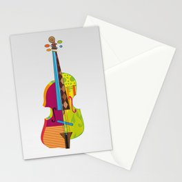 A colorful violin Stationery Cards