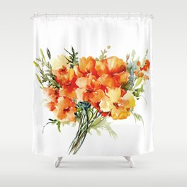 Californian Poppies, California Floral art soft colors Shower Curtain