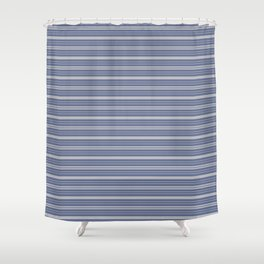 Blue Gray Stripes Shower Curtain