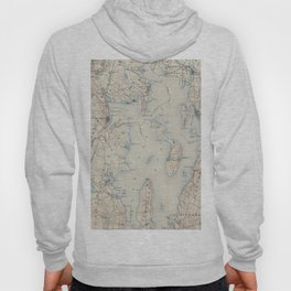 Vintage Map of The Narragansett Bay (1888) Hoody