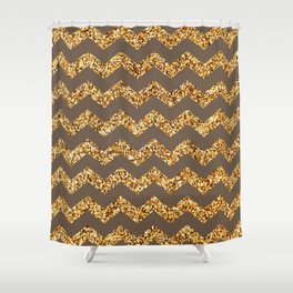 Rose Ebony Gold Glitter Chevron Pattern Shower Curtain