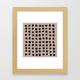 Polka Strokes - Black on Nude Framed Art Print