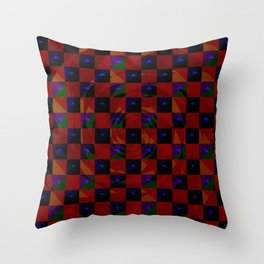 Abstract color checkered swirl with halftones Throw Pillow