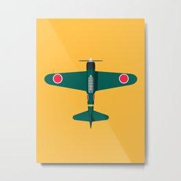 A6M Zero WWII Aircraft - Green Metal Print